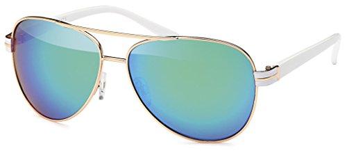 Balinco 17 Modelle Damen Pilotenbrille Sonnenbrille 70er Jahre Sunglasses Fliegerbrille (White-Ice)