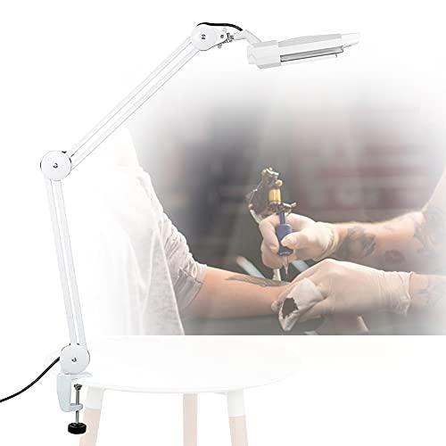 Lámpara con lupa de escritorio con pinza, 5 ledes, diseño estético con brazo giratorio para tatuaje, manicura, maquillaje y lectura