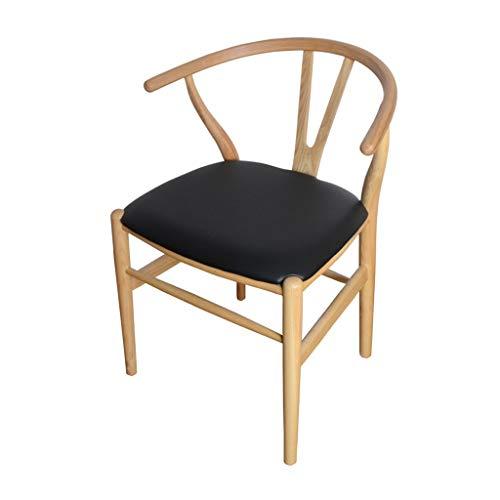 Dining chair Silla de escritorio robusta, simple, respaldo creativo, silla de ocio, estable para el hogar para adultos (color negro-A)