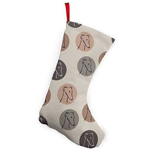 XCNGG Calcetines navideños Calcetines novedosos Greyhound Sighthounds Christmas Stockings 10 inches Christmas Decorations and Party Accessory Xmas Fireplace Hanging Stockings