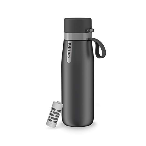 Philips Water GoZero Everyday Insulated Stainless Steel Filter Water Bottle, Designed with Philips Everyday Filter That fits in The Straw to Filter Tap Water into Cleaner-Tasting Water, Grey, 20oz