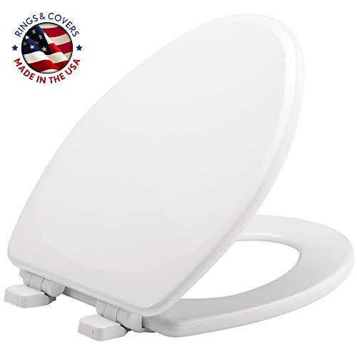 Mayfair 1843SLOW, White 143SLOW 000 Molded Wood Toilet Featuring Whisper-Close Hinge, Top STA-TITE Fastening System and Precision Seat Fit, Elongated