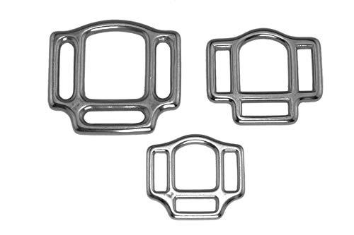 """LENNIE 2X Halfterring, dreifach, Edelstahl, Silber, Größe: 25 mm (1"""")"""