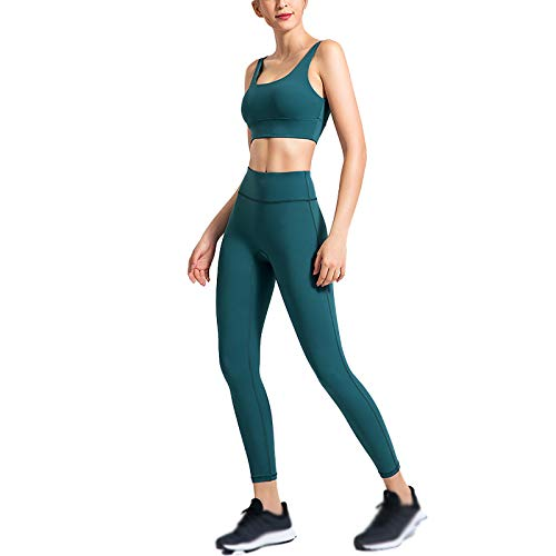 Quick-Drying High-Elastic Yoga Suit Women's Beautiful Back High Waist and Hips Solid Color Sports Suit Yellow Green-XL