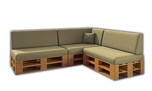 Pack Ahorro Conjunto 8 Cojines para Sofa de palets / europalet 3 Asientos + 3 Respaldos + Rinconera + Cojin | Desenfundable | Interior y Exterior | Color Piedra | Espuma de Alta Densidad.