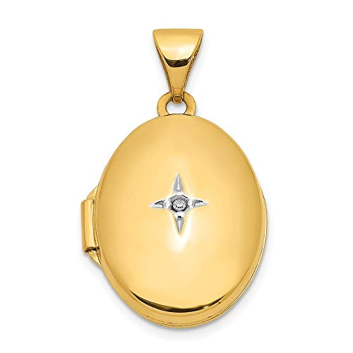 14k Yellow Gold Oval Diamond Photo Pendant Charm Locket Chain Necklace That Holds Pictures Fine Jewellery For Women Gifts For Her