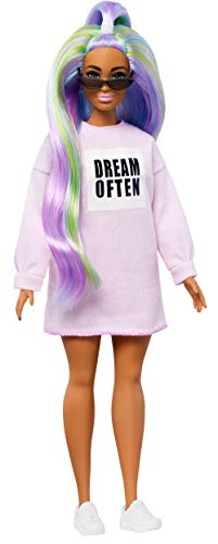 Barbie Fashionistas Doll with Long Rainbow Hair Wearing Sweatshirt Dress and Accessories, for 3 to 8 Year Olds?