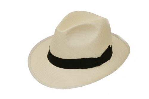 DH Unisexe Packable Authentique Panama Fedora Chapeau avec Bande Noire et Plus Large Bord - Beige - Moyen