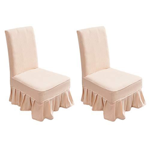 YOUJIAA Stuhlüberzug Fleece Rüschen Wasserdicht Anti-Staub Stuhlhussen Einfarbig Esszimmer Stühle Beschützer (Beige Gelb, 2pcs (Rückenlehnenhöhe:42-58cm))