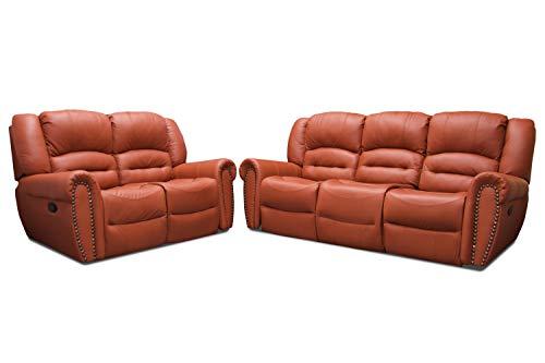 Conforto Sala de Piel Genuina Mod. Oxford con 4 reclinables Sofa y Love (Terracota)