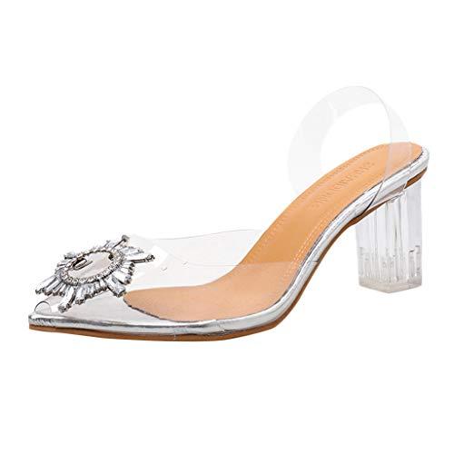 Fannyfuny Sandaletten Damen High Heels mit Blockabsatz Durchsichtig Pointed Toe Sandalen Sommerschuhe Frauen Pumps mit Hohen Stiletto-Absatz Spitz Zehe klar 37-42