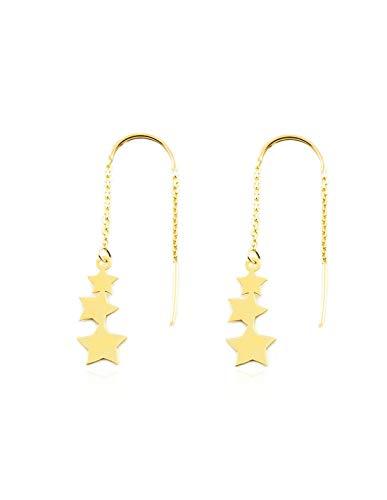 Dames & kinderen ketting sterren oorbellen - geel goud 9 karaat (375)