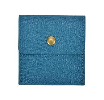 LIly 携帯灰皿 ポータブル レザー 革 ポケット サイズ カラー 6色 (サックスブルー)