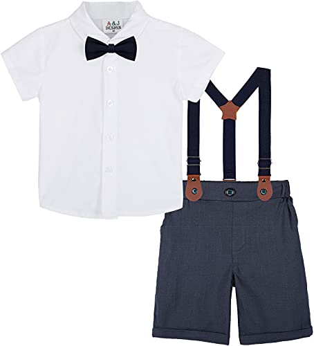 mintgreen Baby Jungen Anzüge, Neugeborenes Weiß Hemd Hose Taufe Gentleman Outfit Kurzarm Passen mit Straps, 12-18 Monate