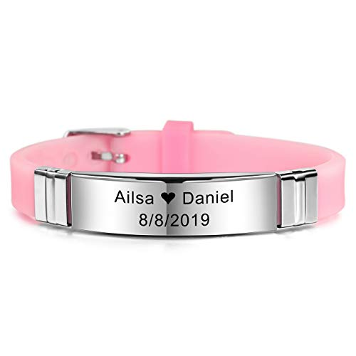 MeMeDIY Personalized Bracelet Engraving Names Silicone Sport Wrist Identification ID Tag Bracelet Customized for Men Women Kids Stainless Steel Rubber Adjustable - (13mm Wide, Pink Color)