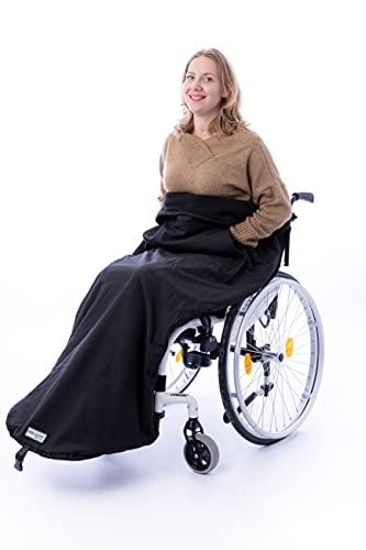 Belieff Rollstuhldecke/Tuch - mit Fußsack und Taschen für Hände - Wind- und wasserdicht - Unisex - 100% Polyester und komplett mit Fleece gefüttert