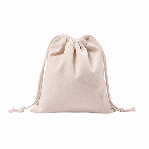 Internet Femmes filles solides Blanc Cordon de serrage Poutre Port Sac à provisions (25cm×32cm)