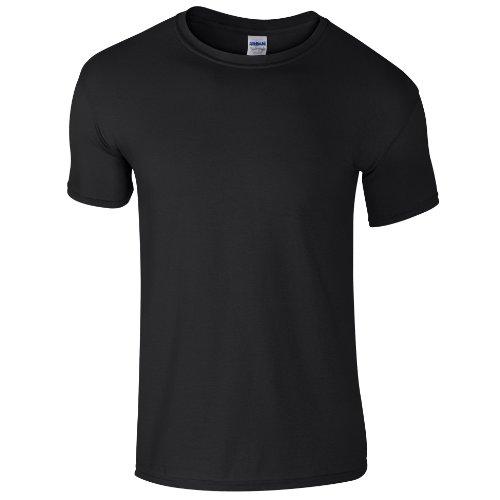 Gildan Soft-Style Herren T-Shirt, Kurzarm, Rundhalsausschnitt L,Schwarz