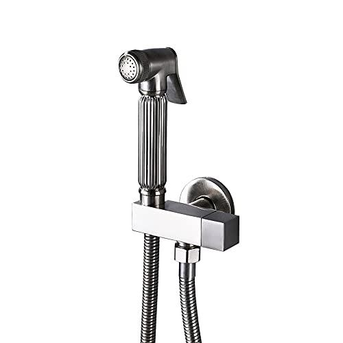 Grifo Grifos de bidé con válvula de esquina de agua fría única, grifo de cabezal de ducha de mano cuadrado de latón macizo, interruptor de 90 grados