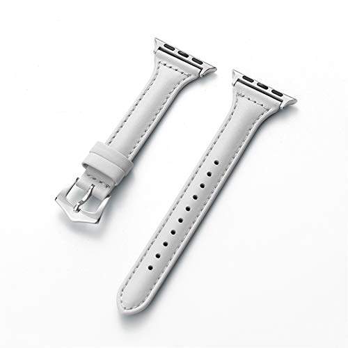 JWWLLT Correa de Cuero Genuino para la Banda de Reloj de Apple 44 mm 40 mm 42mm 38mm para la Serie de Pulsera IWATCH 6 5 4 3 2 1 Pulsera de Reloj de Relojes Accesorios de Reloj de Reloj