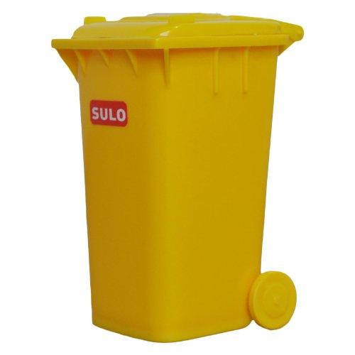 Mini-Mülltonne original SULO kleine Ausführung GELB Miniatur Behälter Aufbewahrung Stiftehalter Büro Spielzeug