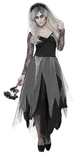 Smiffys 43729X2 Friedhofsbraut-Kostüm, Damen, grau, XXL - UK Size 24-26