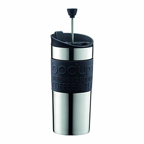 Bodum K11067-01 Travel Press Kaffeebereiter aus Edelstahl in schwarz mit Ersatzdeckel