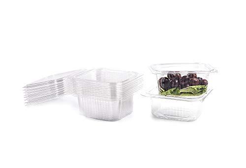 CONTITAL Contenitori in PET A03 - Vaschette Rettangolari 500 cc monouso per Alimenti con coperchio, 100 pezzi