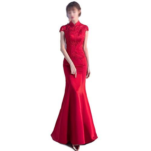 HLL-Dress Vestidos Dirndl Moda Sexy Mermaid Long Stand Stand Collar Bordado Flores Boda Vestido de Fiesta (Color : Red, Size : XXL)