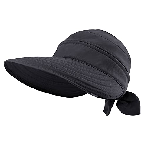Simplicity Women's 2 in 1 UPF 50+ Sun Protective Beach Hat Sun Visor Hat Black