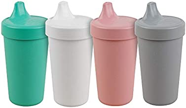Re-Play Made in The USA 4pk No Spill Cups for Baby, Toddler, and Child Feeding in Aqua, White, Blush and Grey | Made from Eco Friendly Heavyweight Recycled Milk Jugs | (Fresh+)