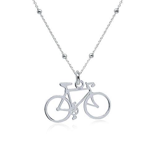 WANDA PLATA Kette Fahrrad für Damen, Junges Mädchen, 925 Silver, Bike Kette Anhänger Schmuck