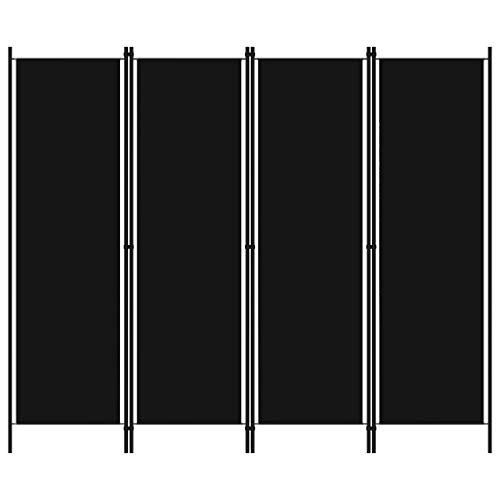 vidaXL Raumteiler Klappbar Freistehend Trennwand Paravent Umkleide Sichtschutz Spanische Wand Raumtrenner 4-TLG. Schwarz 200x180cm Eisen Stoff