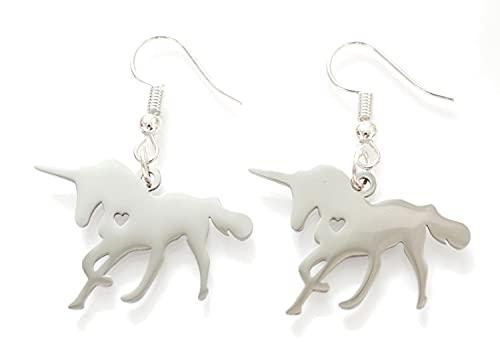 Miniblings unicornio pendientes corazon silb caballo de la fantas acero inoxidable. - joyería de plata hecha a mano de manera I pendientes pendientes
