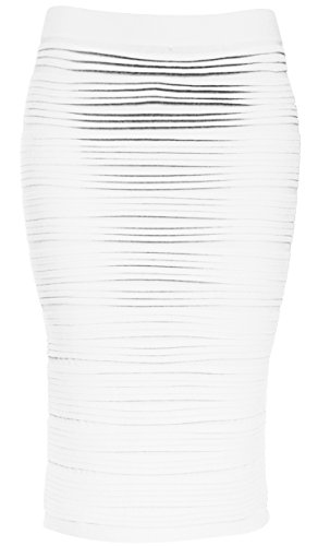 KMystic Strapless Tube Dress and Pencil Midi Bodycon Skirt in One (White)