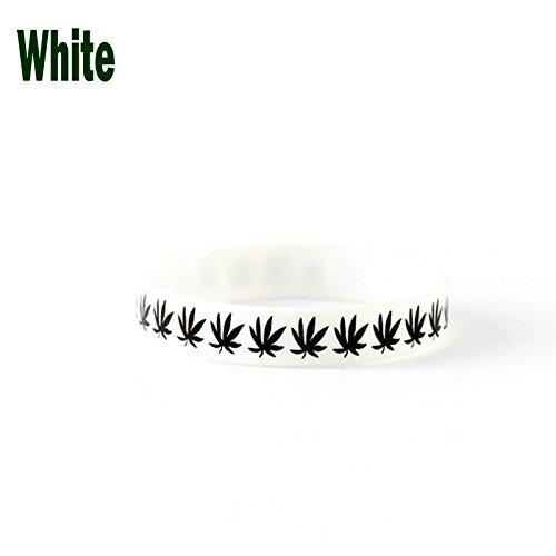 MAYBAO Weed Wristband Weed Correa de muñeca de marihuana Pulsera de marihuana, MYSH1-White, blanco