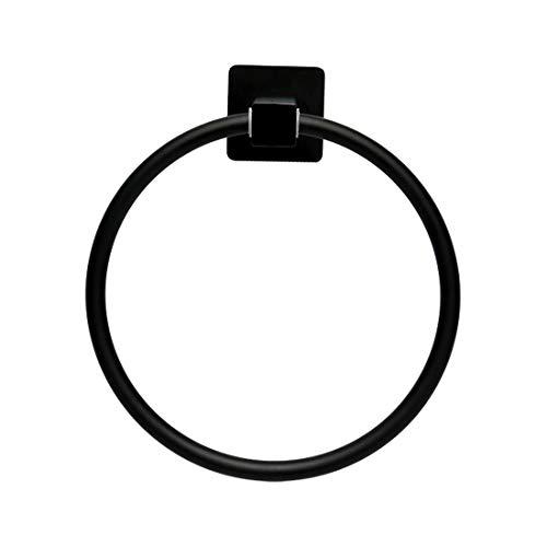 Uxcell - Organizador de anillas de acero inoxidable para toallas, soporte de pared redondo, accesorios de baño, pintura negra