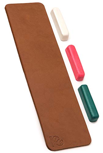 BeaverCraft Leather Knife Strop Kit LS7P03 with Polishing Compound Sharpening Strop 3 х 12 IN - Leather Strop Compound Honing Strop - Stropping Leather Kit - Knife Sharpener Strop with Honing Compound
