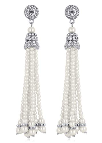 BABEYOND 1920s Flapper Imitation Pearl Earrings 20s Great Gatsby Pearl Tassel Earrings Vintage Flapper Gatsby Costume Accessories (Silver)