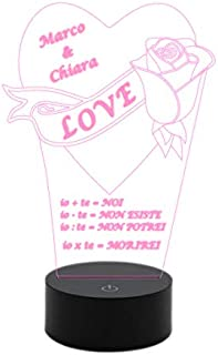 Lampada 7 colori Regalo San Valentino Anniversario Compleanno Idea originale Cuore con rosa e dedica personalizzabile