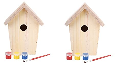 2x Nistkasten für Meisen - DIY Vogelhaus zum Bemalen mit Farben & Pinsel - Meisennistkasten aus Holz - Bastler Nisthaus 20 x 14,5 x 11,5 cm Einflugloch 27mm