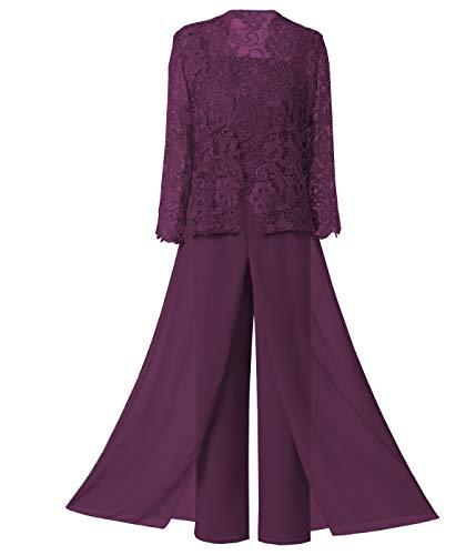 LoveeToo Damen 3 stück chiffon mutter der braut kleid hose anzüge mit langen ärmeln applikationen spitzenjacke für weddinng ( traube uk6