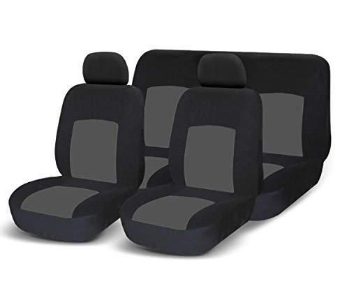 COPRISEDILI UNIVERSALI per Auto Kit Anteriore E Posteriore Vari colori Soft Confortevole Traspirante Protezione per Sedili Auto (Grigio/Nero)