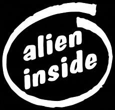 CCI Alien Inside Decal Vinyl Sticker|Cars Trucks Vans Walls Laptop| White |5.5 x 5.25 in|CCI1101