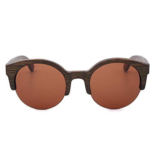 GTYHJUIK Bamboo Wood gepolariseerd glas fashion halve rand houten zonnebril Real Color Outdoor Shade spiegel glazen voor mannen en vrouwen