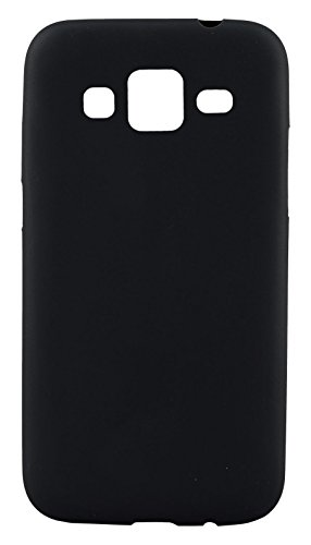 GoRogue Frosted Texture Ultra Slim Soft Smooth TPU Back Case Cover with Free Clear HD Screen Guard for Samsung Galaxy Grand Prime G530 (Black)