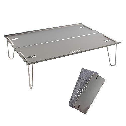 Mesa plegable de aluminio para camping, portátil, mesa de pícnic, mesa pequeña ultraligera, mesa plegable de aluminio para picnic, barbacoa, exterior, playa (gris)