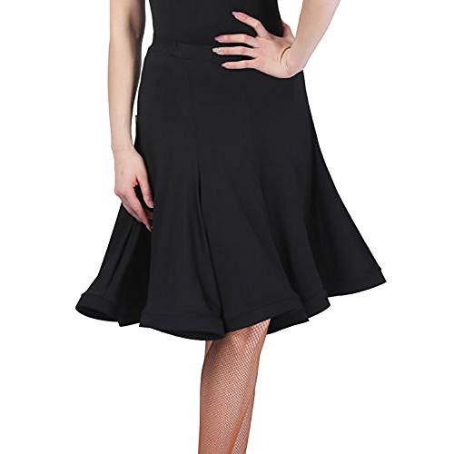 Damen Latin-Tanz-Rock Kleid Salsa Tango Ballroom Dancewear Rumba Practice (Schwarz, XXL(Taille: 79 cm/31.1 inches))