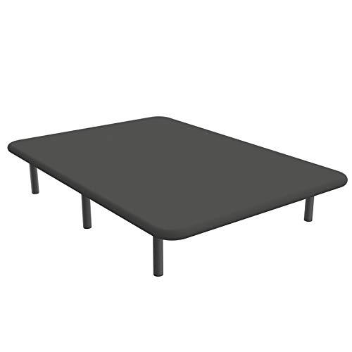 Base tapizada en 3D, Reforzada con 5 Barras transversales y Juego de 6 Patas metálicas. Cabeceroscamas.com (Gris, 135x190)