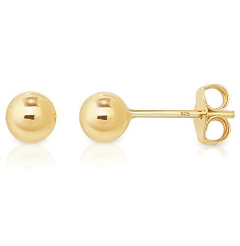 DTPsilver - Damen - Ohrringe 925 Sterling Silber Gelb Vergoldet - Kugel Ohrstecker 5 mm